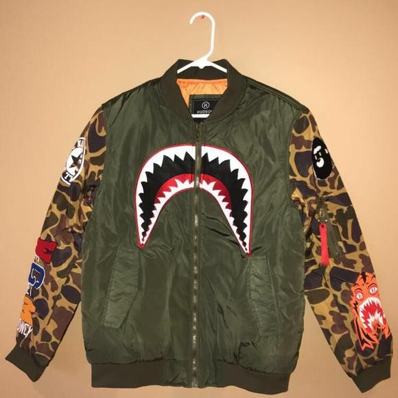 5535090d1 Hudson Outerwear Camo Bomber Jacket Bape Supreme NWT